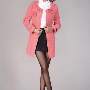 Flower Collar Pink Red Cashmere Woo..