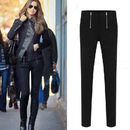 Black Slim Fit Stretchy Leggings Pa..
