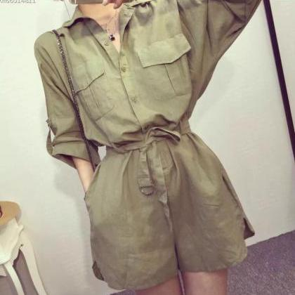 5c4bc7945a1 Army Green Shirt Design Jumpsuit Shorts Romper Playsuit Outfit With ...