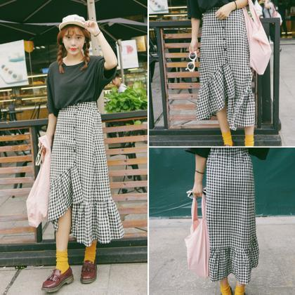 Plaid Midi Skirt with Asymmetrical ..