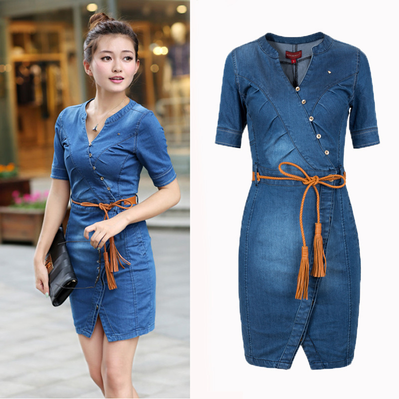 Plus Size Short Denim Dress Bodycon Summer Wear Blue Jean Clothes For Women Slim Fit Dresses ...