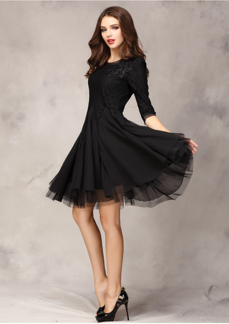 0e8b0d4e1b4e Black Lace And Chiffon Beading Swing Short Dress SD065-2 on Luulla
