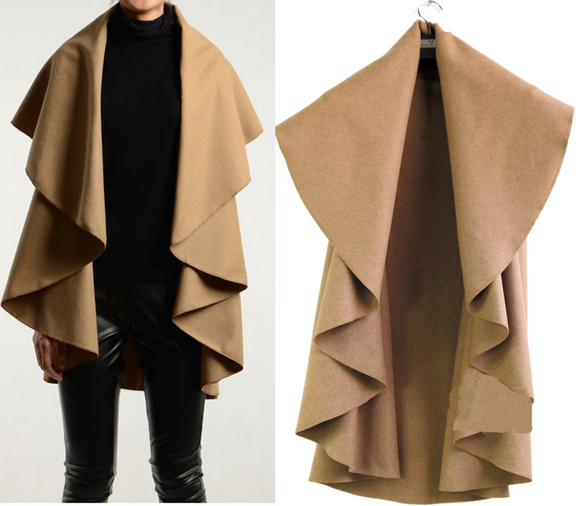 Design Sleeveless Wool Poncho Cape Coat Cappa Women Ladies Plus ...