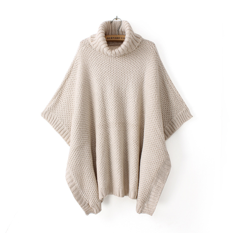 Beige Turtleneck Batwing Sweater Loose Top WC022 on Luulla