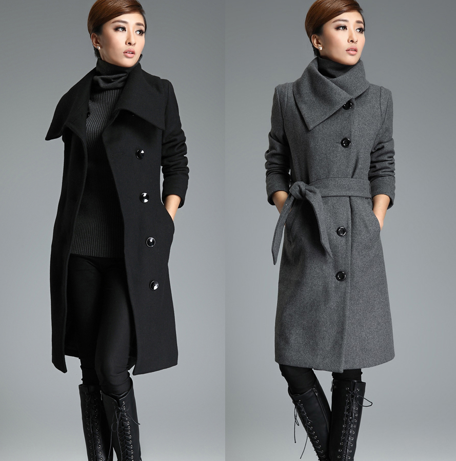 5cb62d47fea Gray Long Wool Trench Coat Tie Belt Lapel Winter Warm Thick Woolen Jacket  Cashmere Overcoat Women s