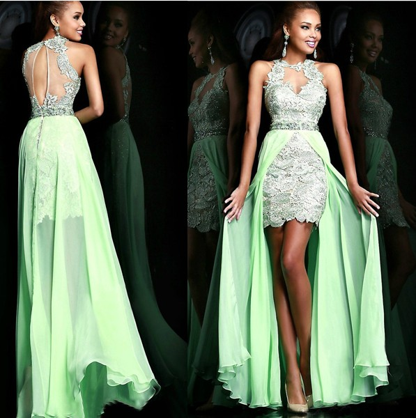355e63b97a Sexy Open Back Evening Dress Short Front Back Long Prom Dress Leaf  Embroidery Crystal Formal Dress