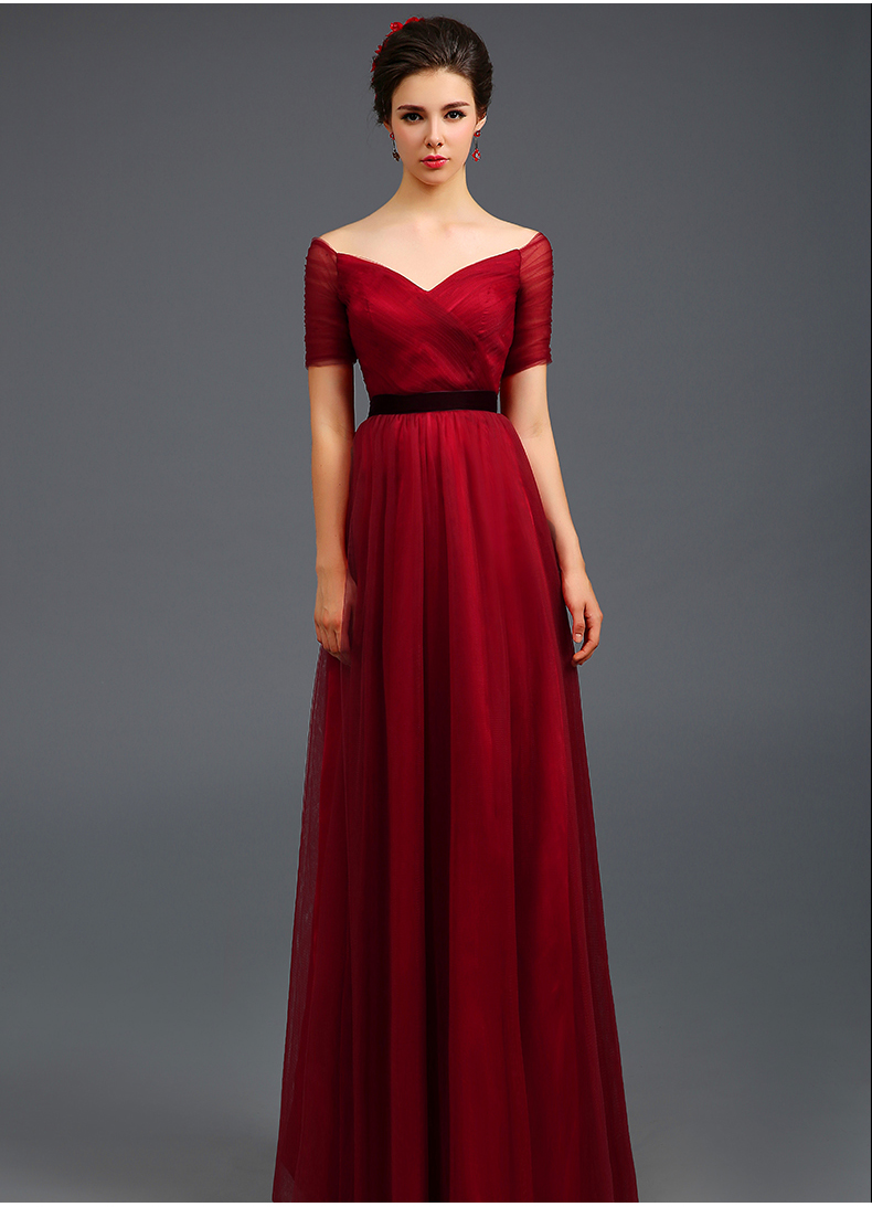 Wine Red Deep V Neck Long Evening Dress Off The Shoulder Bride Maxi Lingerie Kimono Gaun Malam Wedding Gowns Toast Dinner Banqu On Luulla