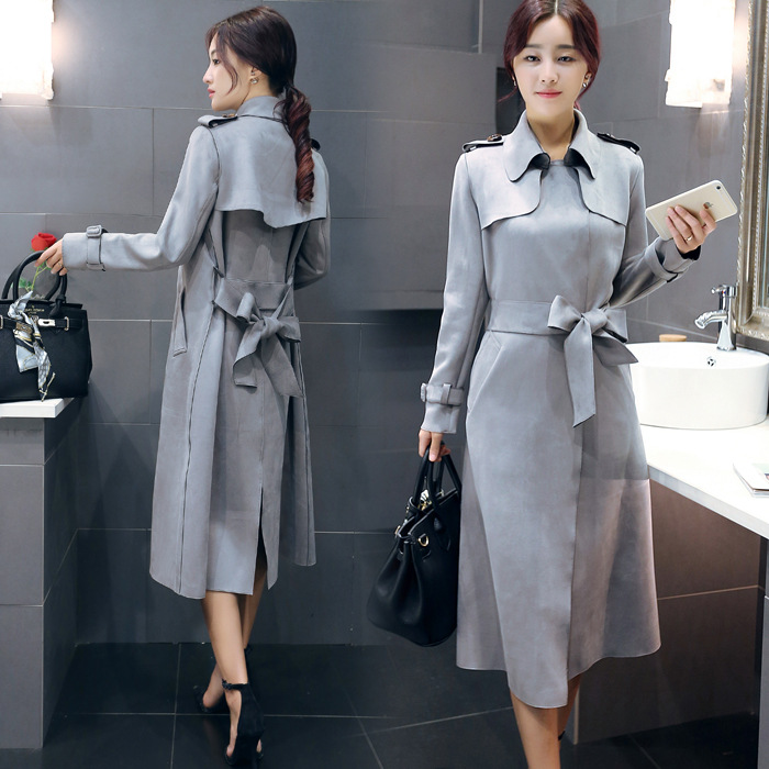 5286b962fc6 Grey Suede Plus Size Long Trench Coat For Women OL Fashion Windbreaker  Outerwear WJ328