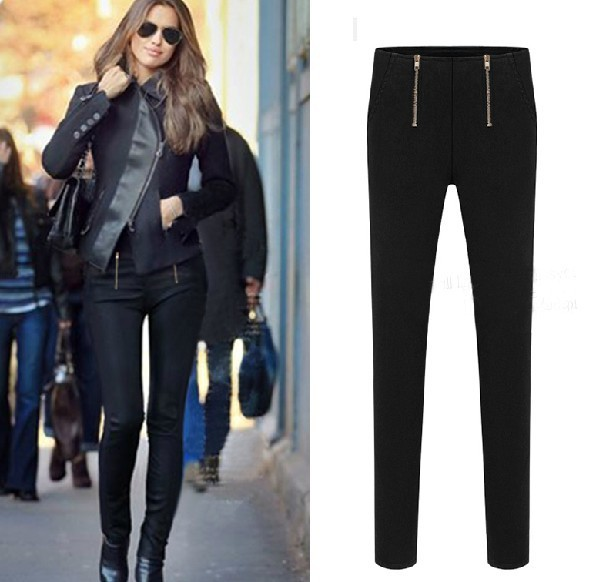 Black Slim Fit Stretchy Leggings Pants with Double Zipper Detailing