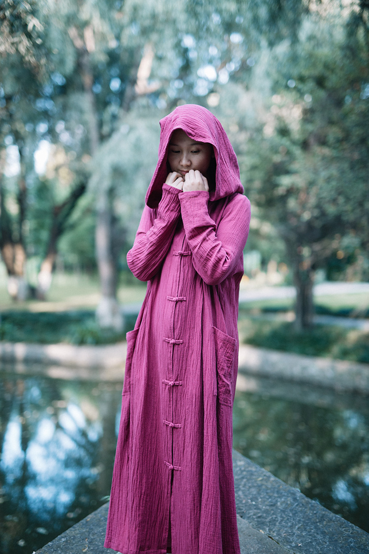 c1d34540d3205 Rose mikofuku Witch Coat Big Hood Magic Outfit Button Up Long Casual Cloak  Jacket WJ347