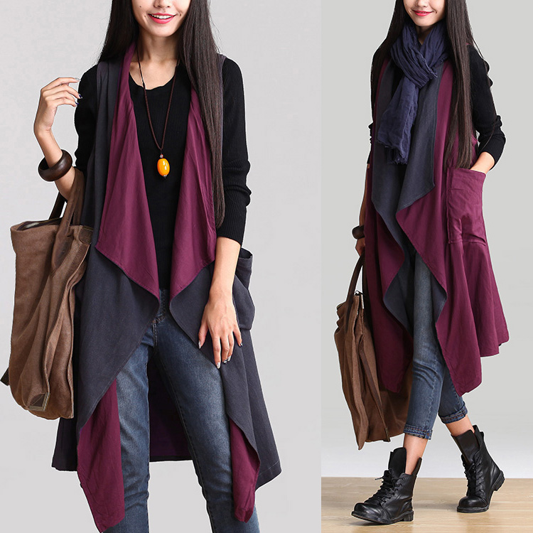 8f99cd03825 Asymmetric Cotton Linen Cardigan Long Cloak Vest Plus Size Coat Jacket For  Women Spring Autumn Two