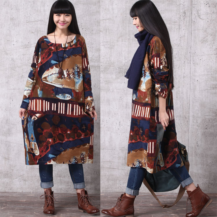 Paintings Print Dress Oversized Cotton Dress Long Sleeve Unique Dress  Graffiti Novelty Tunic Dress SD499