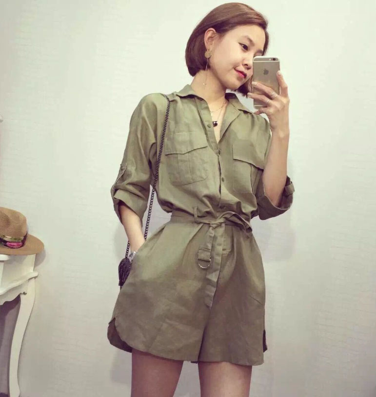 98c9a38502e Army Green Shirt Design Jumpsuit Shorts Romper Playsuit Outfit with Sash  Free Shipping