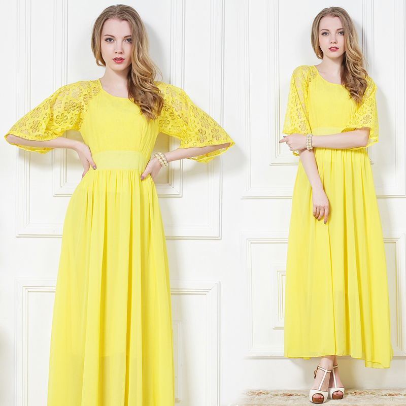 5885f15a7d30 Floral Half Sleeve Yellow Long Maxi Chiffon Bohemian Dress SD342 on Luulla